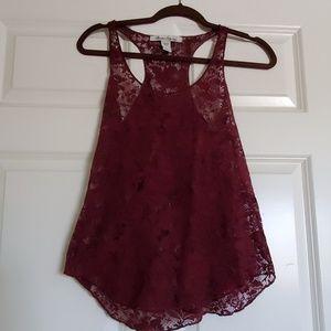 American rag lace maroon tank shirt